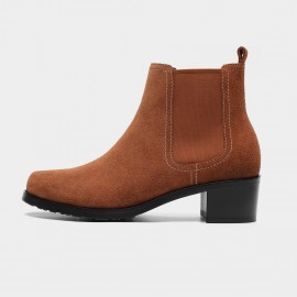 Masoomake Seam Suede Ankle Brown Boots (FSX8733)