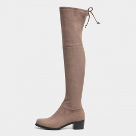 Masoomake Ribbon Thigh High Khaki Boots (FSX8739)