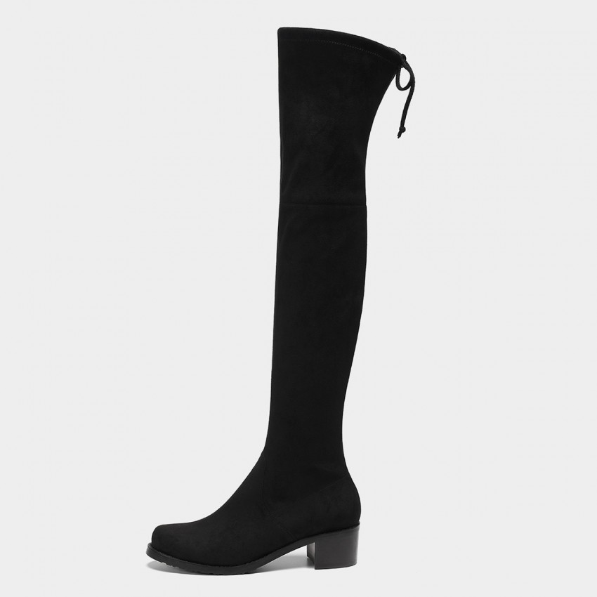 Masoomake Ribbon Thigh High Black Boots (FSX8739)