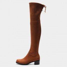 Masoomake Ribbon Thigh High Brown Boots (FSX8739)