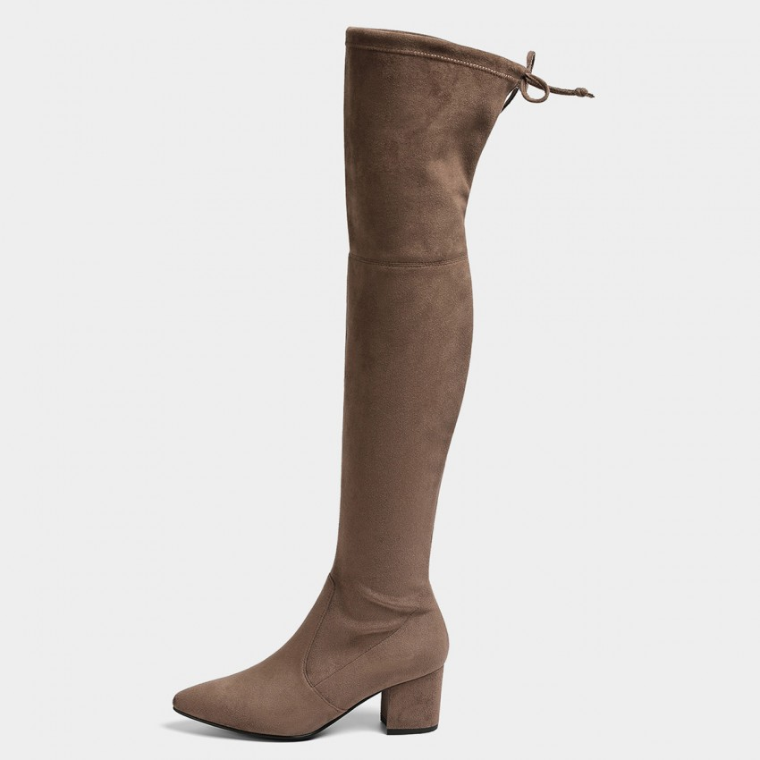 Buy Masoomake Pointed Thigh High Khaki Boots online, shop Masoomake with free shipping