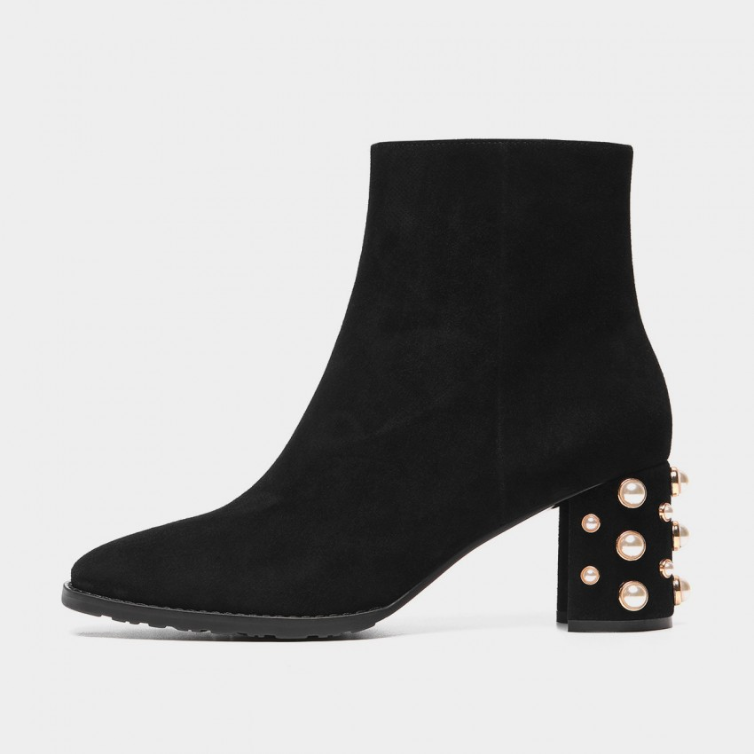 Buy Masoomake Pearl Stud Suede Black Boots online, shop Masoomake with free shipping