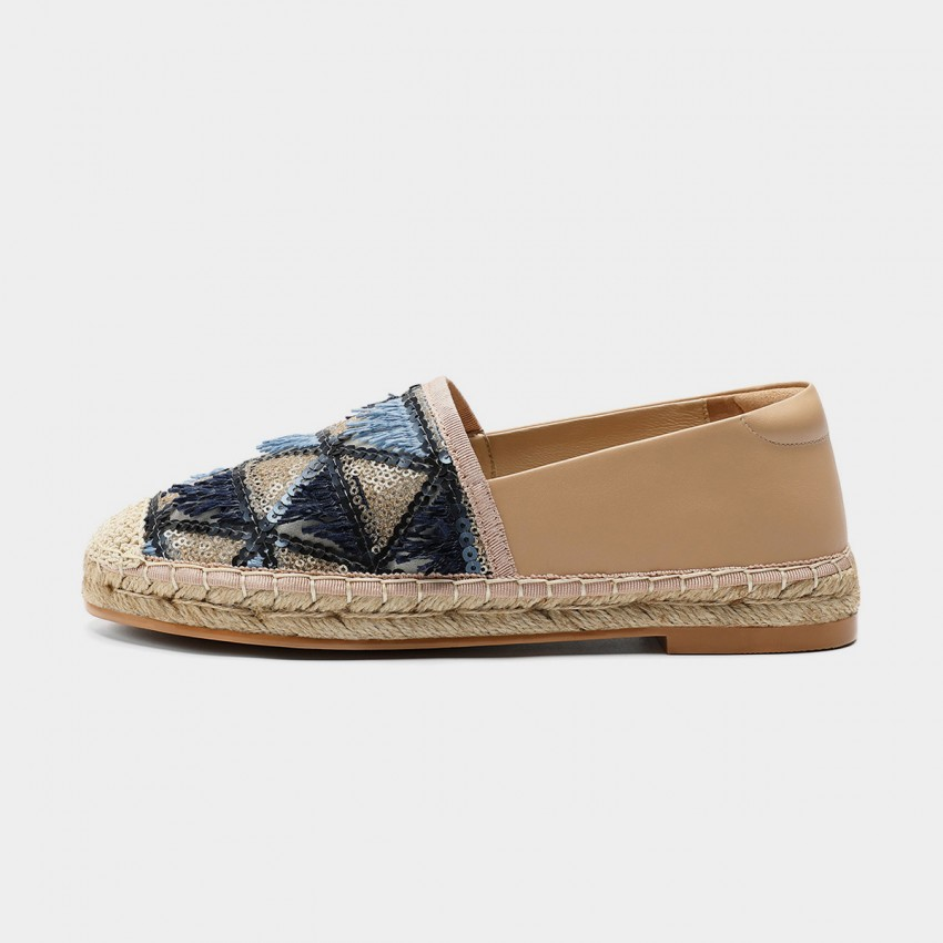 Buy Masoomake Glittering Triangular-Pattern Blue Loafer online, shop Masoomake with free shipping