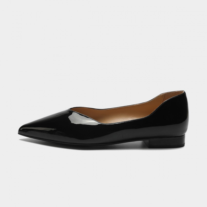 Masoomake Shiny Leather Black Flat (FSD71935)