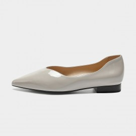 Masoomake Shiny Leather Grey Flat (FSD71935)