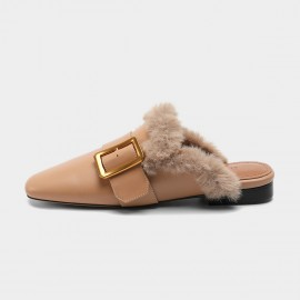 Masoomake Fury Leather Apricot Slipper (FSD78106)