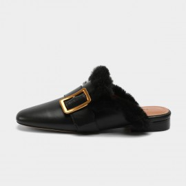 Masoomake Fury Leather Black Slipper (FSD78106)