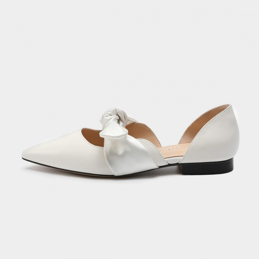 Buy Masoomake Silk Ribbon Leather White Flat online, shop Masoomake with free shipping