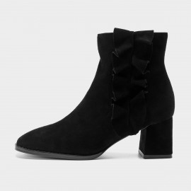 Masoomake Curved-Lining Suede Black Boot (FSX85501)