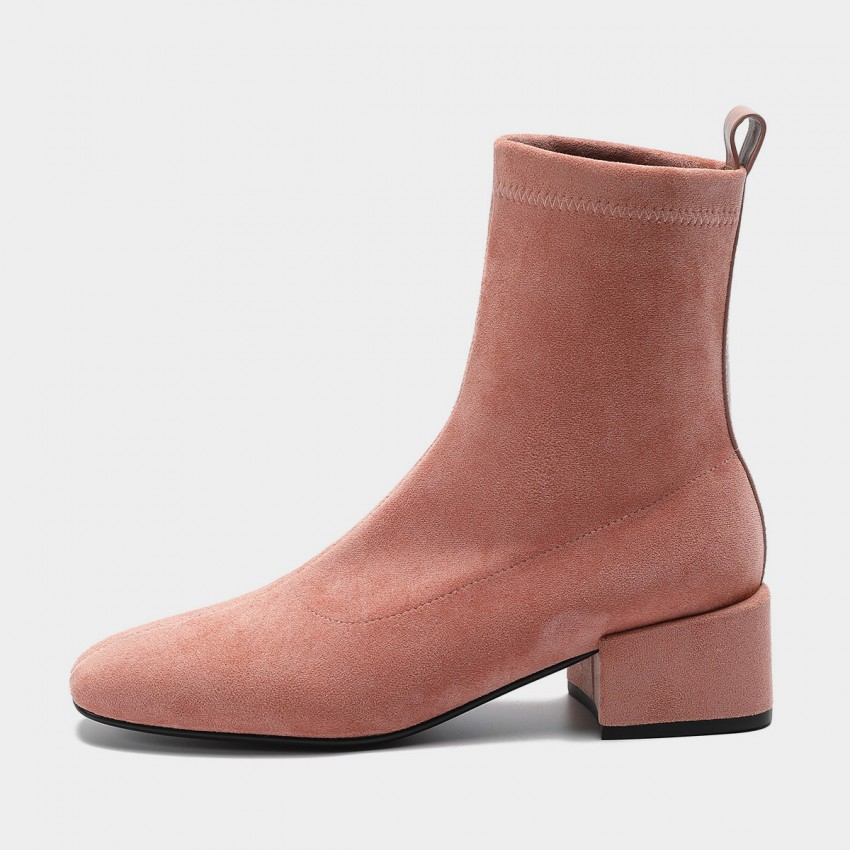 Buy Masoomake Stretch Velvet Angular-Heel Pink Boot online, shop Masoomake with free shipping