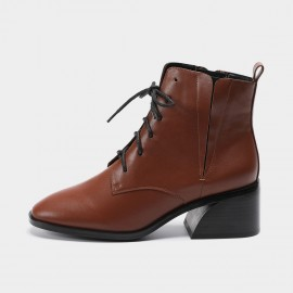 Masoomake Leather Military Brown Boot (FSX89905)