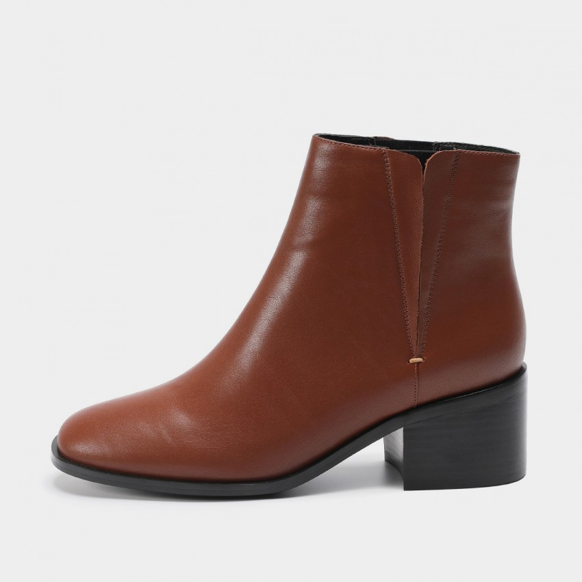 Buy Masoomake Geometric Twist Leather Brown Boot online, shop Masoomake with free shipping