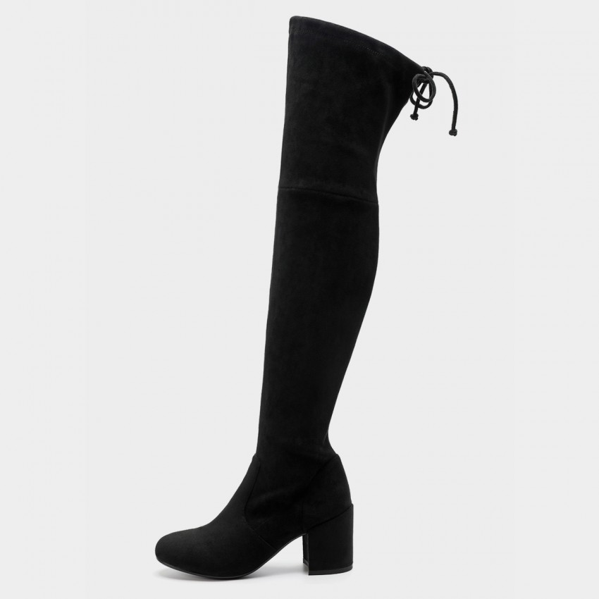 Buy Masoomake Stretch Velvet Thigh High Black Boot online, shop Masoomake with free shipping