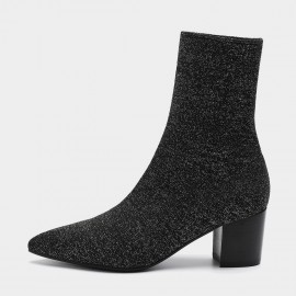 Masoomake Stretchy Upper Pointed-Toe Silver Boot (FSX89932)