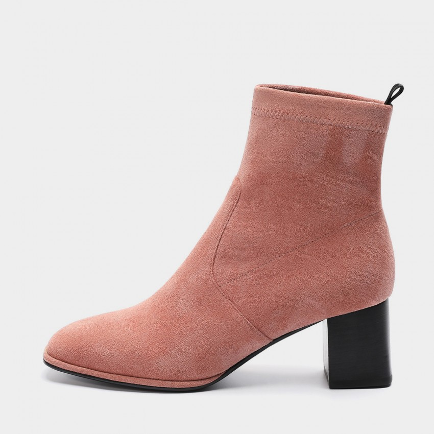 Buy Masoomake Angular Wide-Heel Suede Pink Boot online, shop Masoomake with free shipping