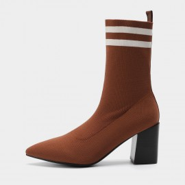 Masoomake Sporty Stretchy Upper Pointed-Toe Coffee Boot (FSX89961)