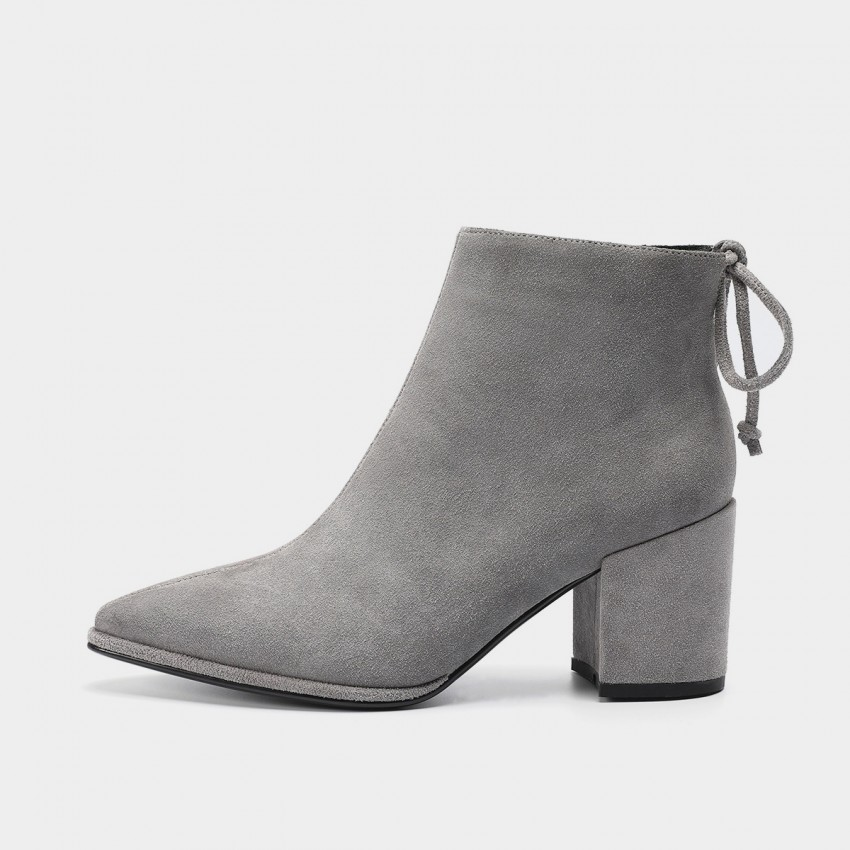 Buy Masoomake Tie Ribbon Cow Suede Grey Boot online, shop Masoomake with free shipping