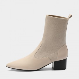 Masoomake Stretchy Upper Calf Leather Ivory Boot (FSX89967)