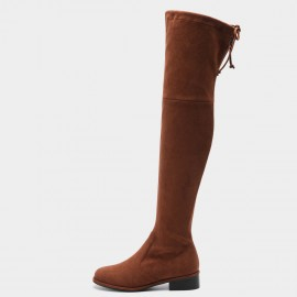 Masoomake Tie Ribbon Stretch Velvet Thigh High Brown Boot (FSX89968)