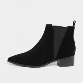 Masoomake Geometrical Symmetry Cow Suede Ankle Black Boot (FSX89969)