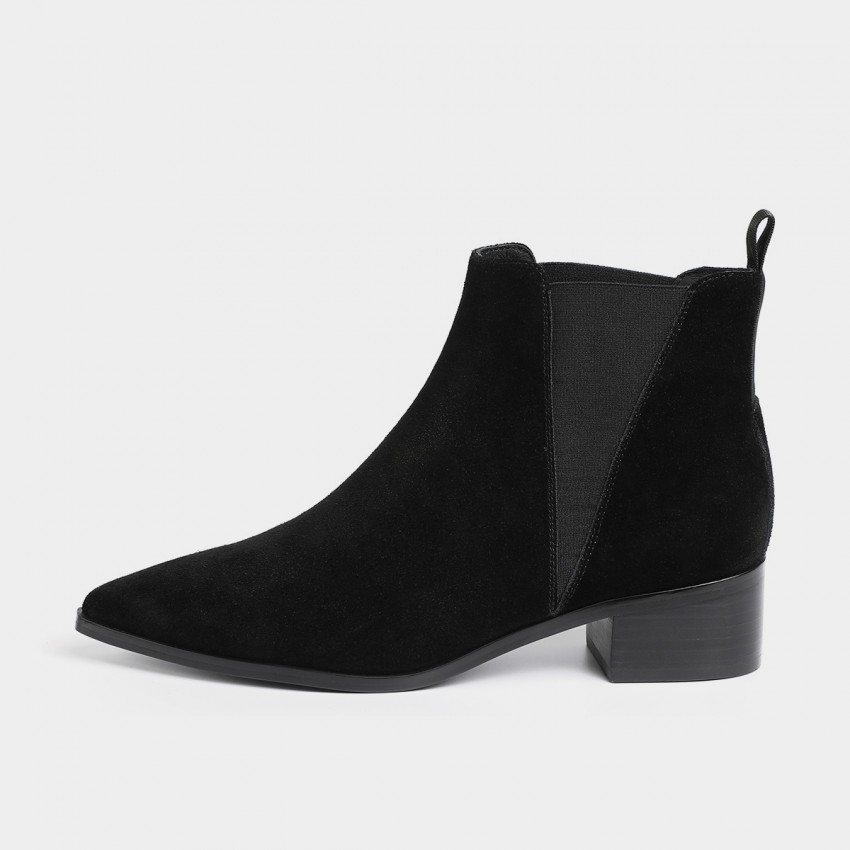 Buy Masoomake Geometrical Symmetry Cow Suede Ankle Black Boot online, shop Masoomake with free shipping