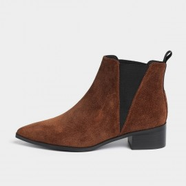 Masoomake Geometrical Symmetry Cow Suede Ankle Coffee Boot (FSX89969)