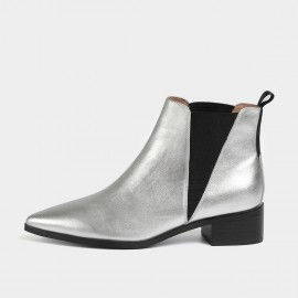 Masoomake Geometrical Symmetry Cow Suede Ankle Silver Boot (FSX89969)
