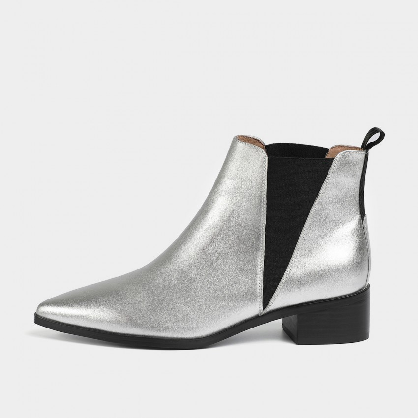 Buy Masoomake Geometrical Symmetry Cow Suede Ankle Silver Boot online, shop Masoomake with free shipping
