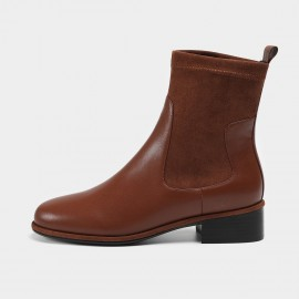 Masoomake Double-Texture Brown Boots (FSX88950)