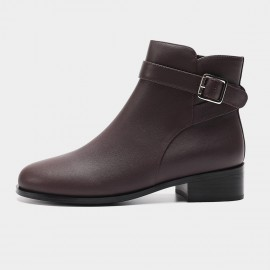 Masoomake Timeless Leather Wine Boots (FSX86613)
