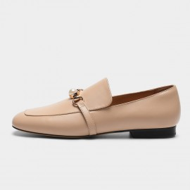 Masoomake Belted Pearl Apricot Loafers (FSD7605)