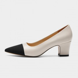 Masoomake Two-Tone Pointed Ivory Pumps (FSD7606)