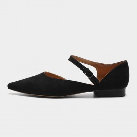 Masoomake Ankle Wrap Pointed Black Flats (FSD7607)