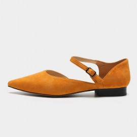 Masoomake Ankle Wrap Pointed Orange Flats (FSD7607)