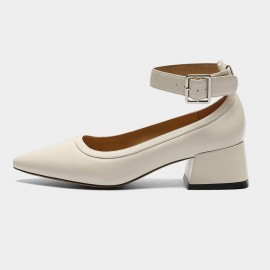 Masoomake Buckled Pointed Ivory Pumps (FSD7632)