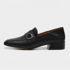 Masoomake Buckle Square Black Loafers (FSD7780)