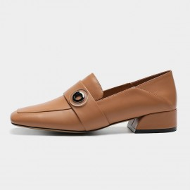 Masoomake Buckle Square Brown Loafers (FSD7780)