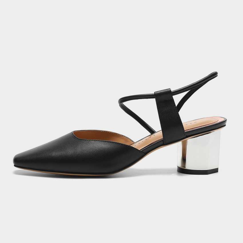 Masoomake Strappy Slingback Black Pumps (FSD7860)