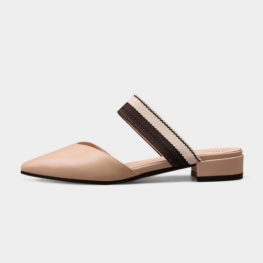 Buy Jady Rose Woven Straps Pointed Toe Mule Nude Sandal online, shop Jady Rose with free shipping