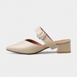Jady Rose Ring Straps Pointed Toe Mule Apricot Sandal (17DR10255)