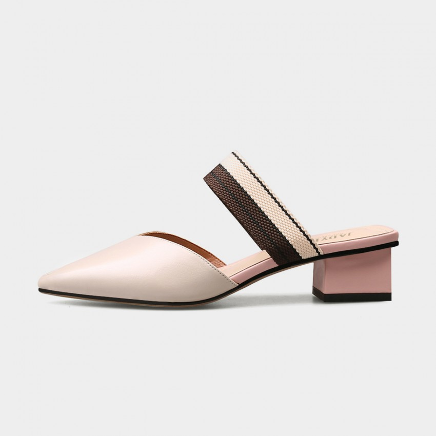 Buy Jady Rose Eyelet Woven Strap Pointed Toe Mule Apricot Sandal online, shop Jady Rose with free shipping