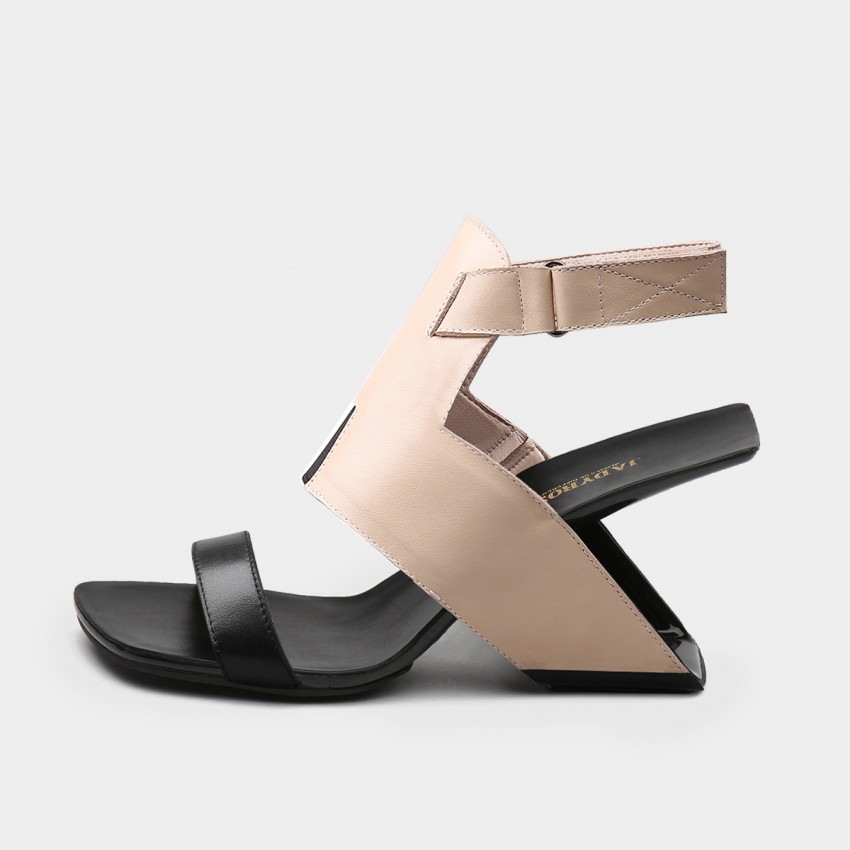 Buy Jady Rose Hollow Heels Ankle Strap Mixing Color Calf Leather Apricot Sandal online, shop Jady Rose with free shipping