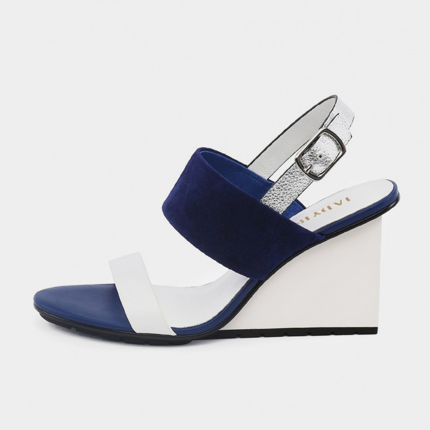 Buy Jady Rose Wedged High Heel Navy Sandals online, shop Jady Rose with free shipping