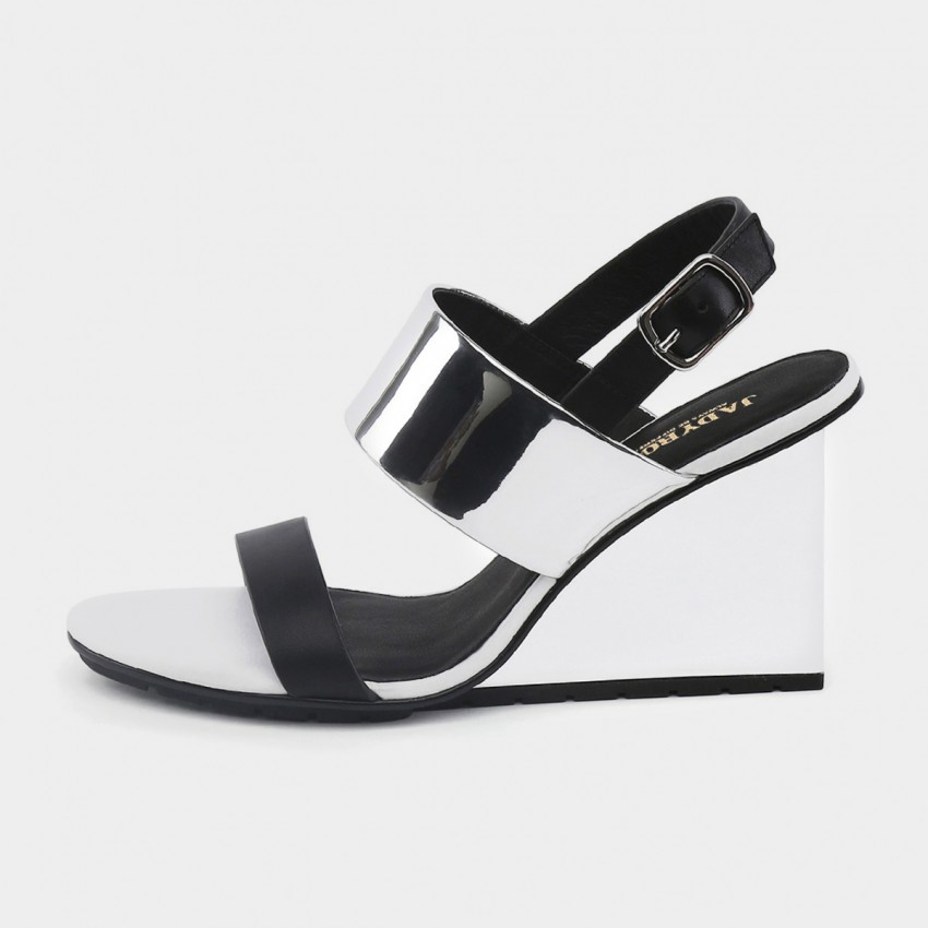 Buy Jady Rose Wedged High Heel Silver Sandals online, shop Jady Rose with free shipping