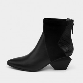 Jady Rose Ankle High Medium Geometrical Heel Faux Leather Black Boots (17DR10260)