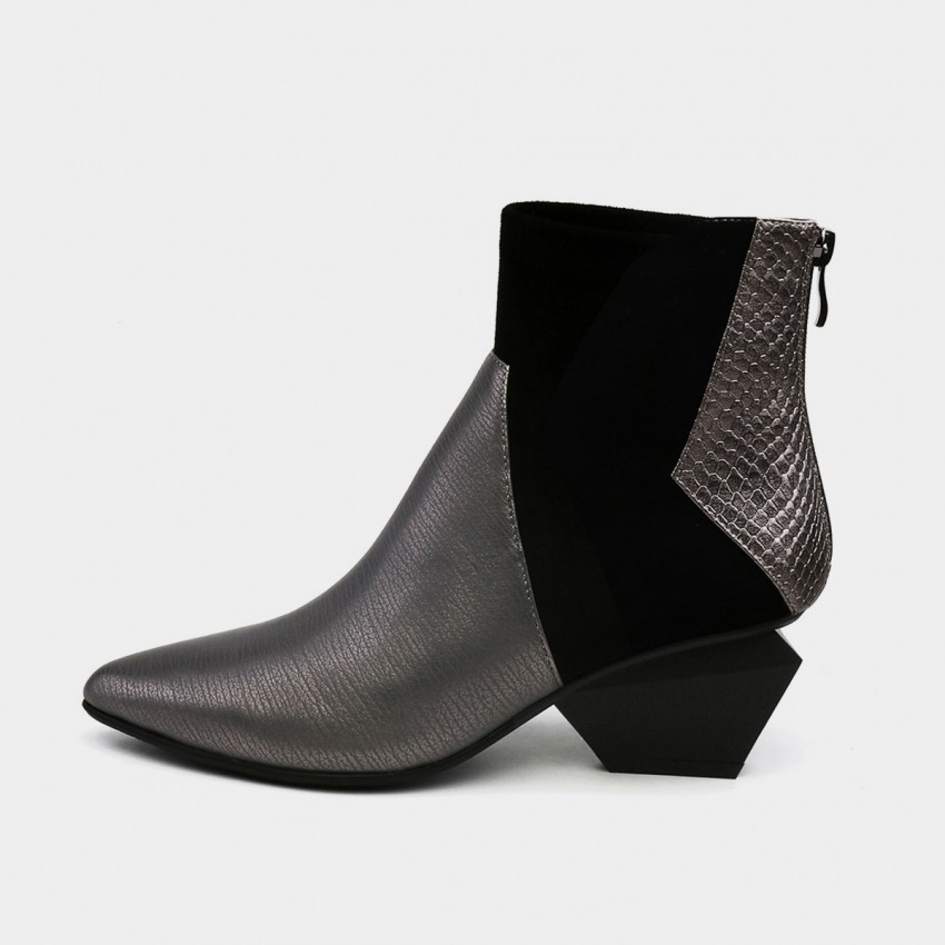 Buy Jady Rose Ankle High Medium Geometrical Heel Faux Leather Gun Boots online, shop Jady Rose with free shipping