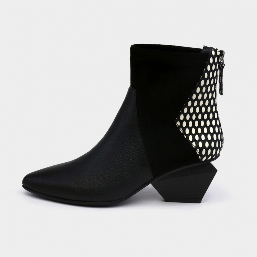 Buy Jady Rose Ankle High Medium Geometrical Heel Faux Leather White Boots online, shop Jady Rose with free shipping