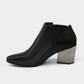 Jady Rose Ankle High Medium Geometrical Chunky Heel Faux Leather Black Boots (17DR10261)