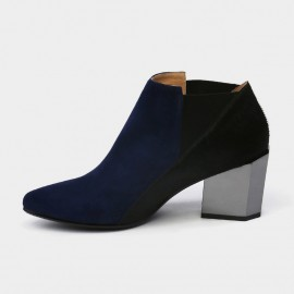 Jady Rose Ankle High Medium Geometrical Chunky Heel Faux Leather Navy Boots (17DR10261)