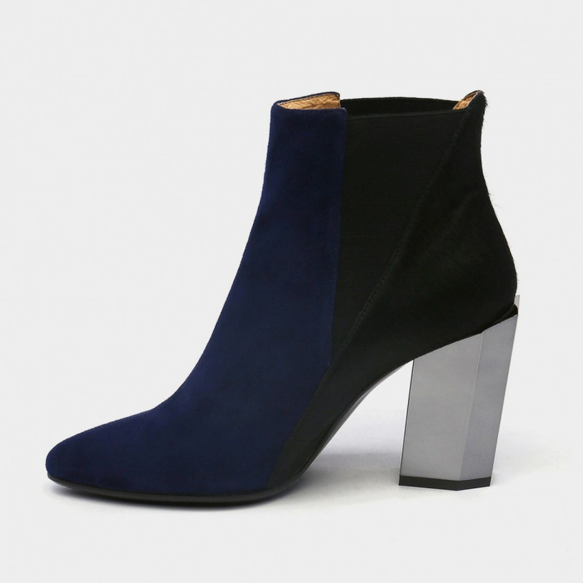 Buy Jady Rose Ankle High Medium-High Metallic Chunky Heel Stretchy Navy Boots online, shop Jady Rose with free shipping